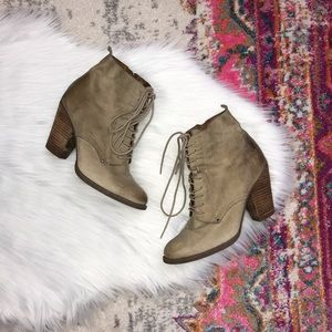 Aldo Beige Taupe Distressed Lace Up Heeled Boots